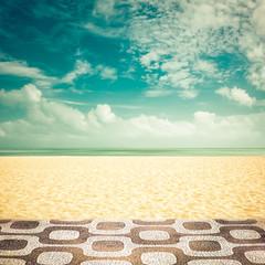 Sunshine on empty Ipanema Beach, Rio de Janeiro - vintage look