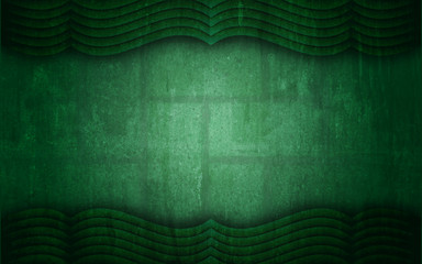 Green Grunge Textured Curtain Frame Background