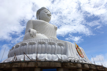 The marble statue of Big Buddha over blue sky