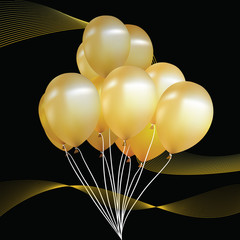 Party balloons gold. Black background