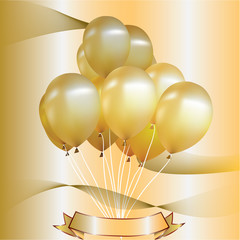 Party balloons gold. Gold background