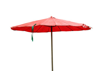 Beach umbrella (with clipping path) isolated on white background