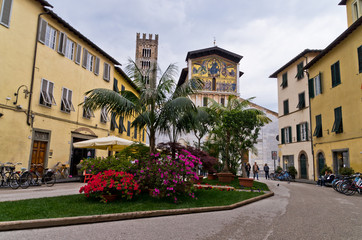 Typical small square at city of Lucca, Tuscany