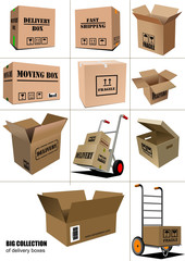 Delivery equipment collection.Colored vector illustration for de