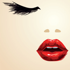 Red lips portrait