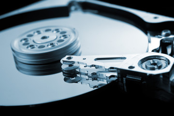 Computer hard disk close up detail