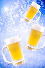 水しぶきと生ビール