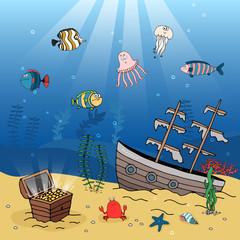 Underwater scene of a sunken ship and treasure