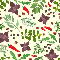 Fresh herbs and spices seamless pattern