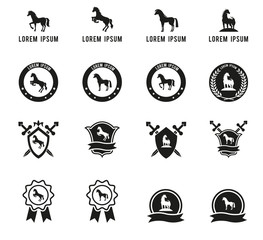 Set of horse or equestrian labels and signs