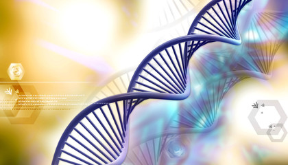 Digital illustration of Dna in color background