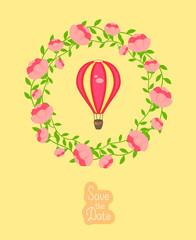 Wedding invitation with hot air balloon