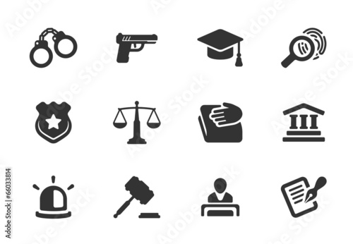 Set of justice and police icons - 66033814