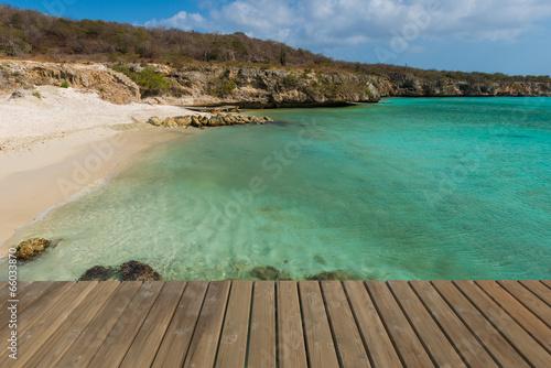 Fotobehang Caraïben steg ins meer auf curacao