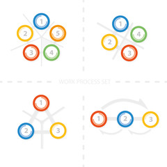 Four set of colorful vector design for workflow layout