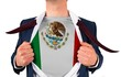 Businessman opening shirt to reveal mexico flag