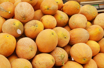 Close up of melons on market stand