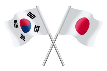 Flags : South Korea and Japan