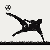 Fototapety silhouette of a footballer beating on a ball