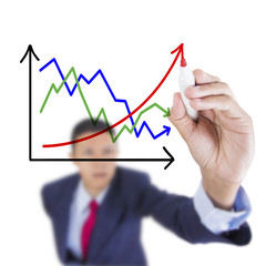 Businessman look up and writing contrast graph correlate raise u
