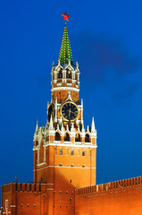 Spasskaya tower of Kremlin in red square, night view. Moscow, Ru