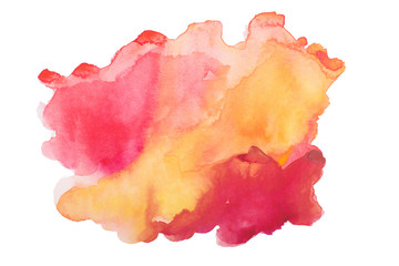 Abstract red orange watercolor, aquarelle art hand draw paint on