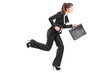 Businesswoman running with a briefcase