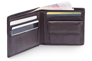 Open brown leather wallet with money