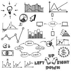 business finance doodle hand drawn elements. Concept - graph,