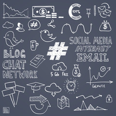 Hand draw social media sign and symbol doodles elements. Concept