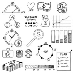 Hand draw doodle elements money and coin icon, chart graph.