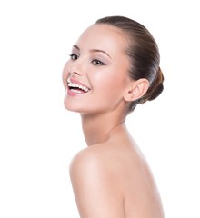 Beautiful face of smiling  woman with clean fresh skin