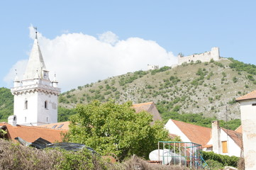 Kirk tower in Pavlov and ruins of gothic castle Děvičky, Czechia