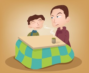 Two brother enjoy ing the kotatsu with hot green tea