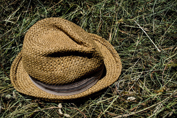 work in the garden, hat, raking hay,