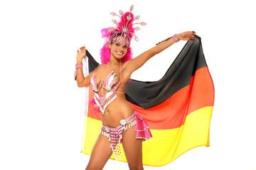 Brasilianische Sambatänzerin mit Deutschlandfahne