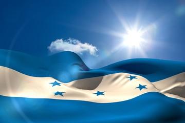 Honduran national flag under sunny sky