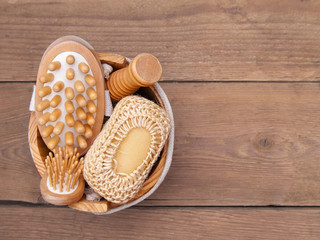 Spa accessories on wooden background