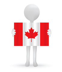 small 3d man holding a Canadian Flag