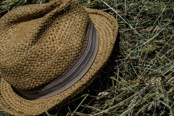 detail straw hat, hay