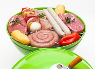 Moderner Kugelgrill mit Grillfleisch