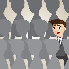 cartoon businessman outstanding from crowd
