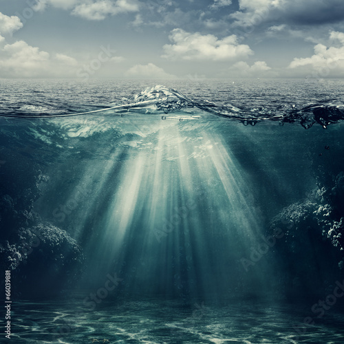 Retro style marine landscape with underwater view