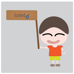 Illustration boy and toilet label