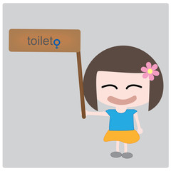 Illustration girl and toilet label