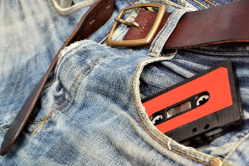 Jeans and tape cassette