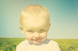 little happy boy child in summer picnic