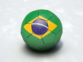 3D football with Brazilian national flag (light)