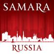 Samara Russia city skyline silhouette red background