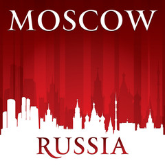 Moscow Russia city skyline silhouette red background